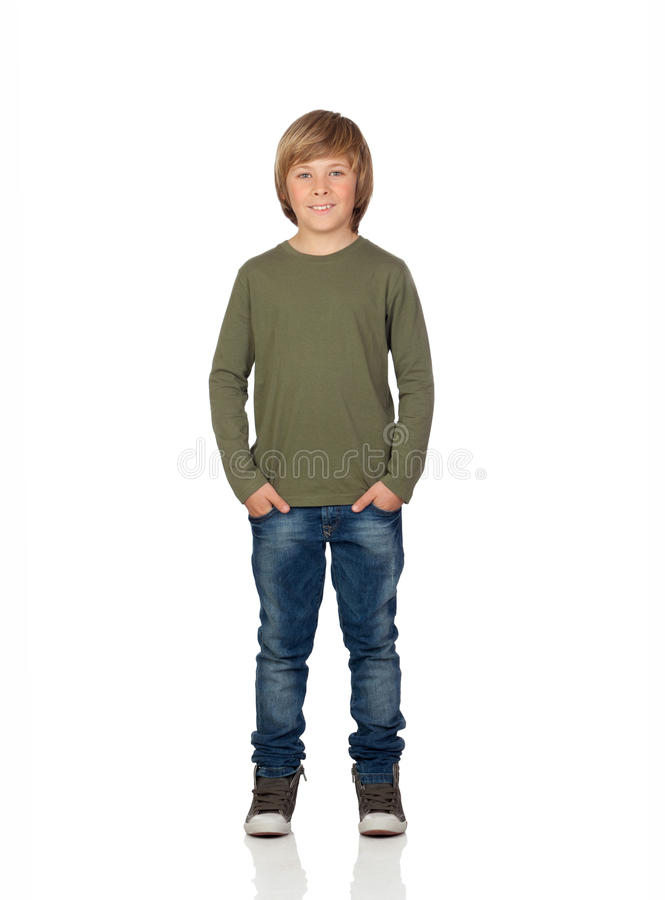 Portrait of adorable child standing stock photo