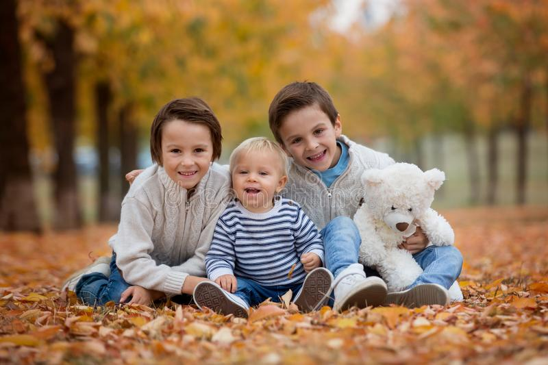 Portrait of adorable children, brothers, in autumn park,playing. Together and holding teddy bear toy stock images