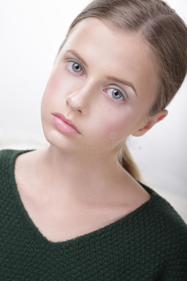 Portrait of Adorable Comely Teen Girl in Green. Portrait of Adorable Comely Woman in Green royalty free stock photos