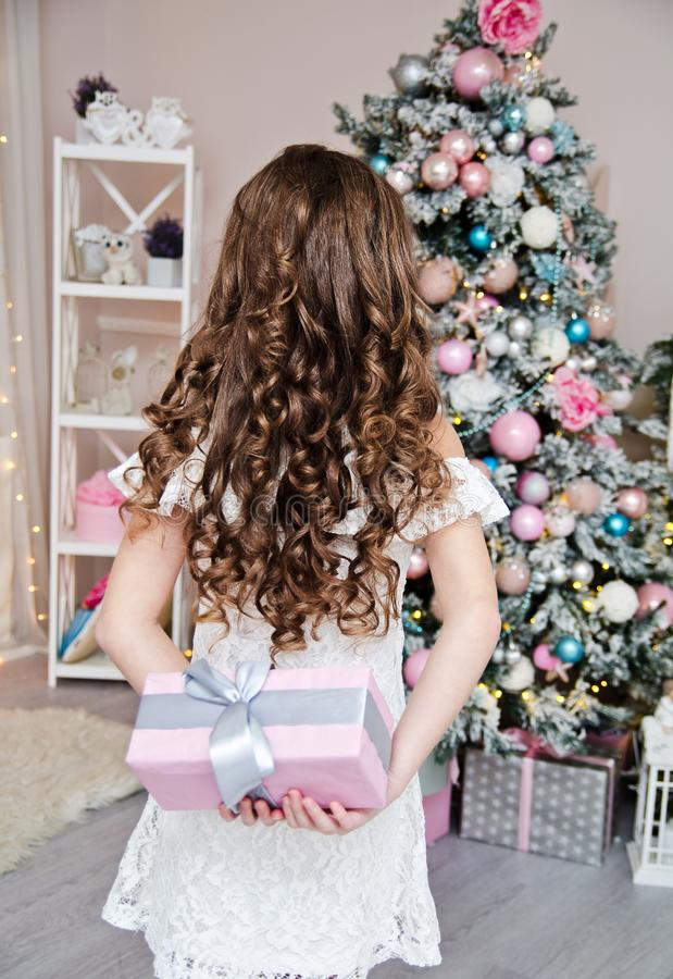 Portrait of adorable happy smiling little girl child in princess dress holding gift box near fir tree stock photography
