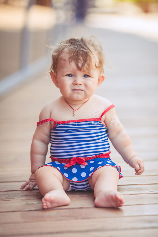 Download Portrait Of Adorable Infant Smiling Girl In Summer Outdoor Stock Image - Image: 37005095