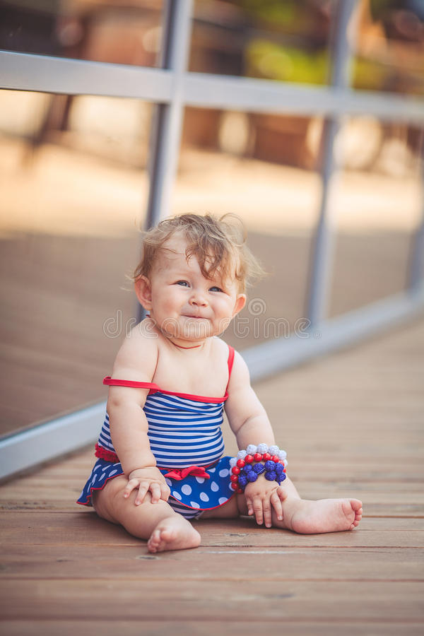 Download Portrait Of Adorable Infant Smiling Girl In Summer Outdoor Stock Image - Image of baby, little: 37005103
