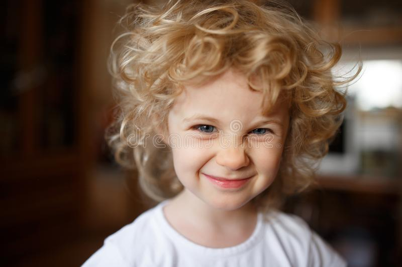 Portrait of adorable little blonde girl with curly hair. stock images