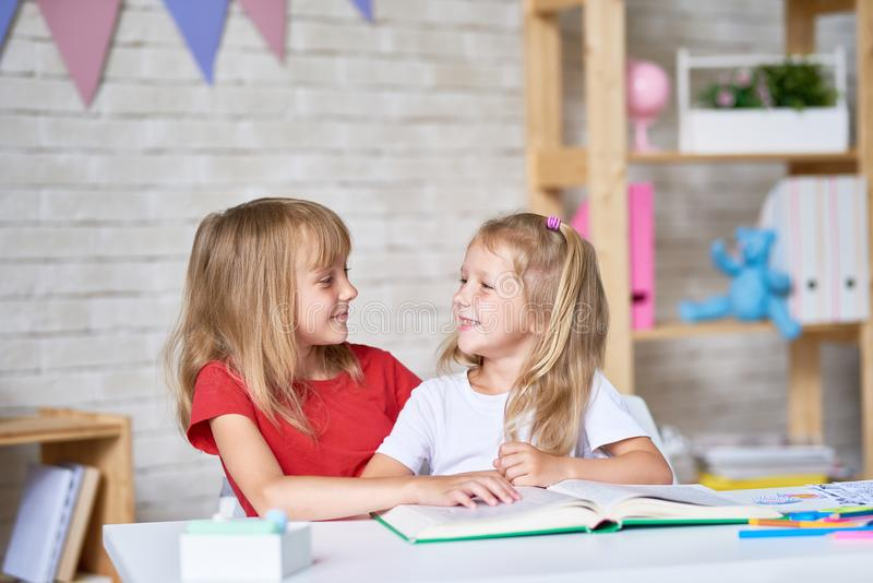 Little Girls Studying Together stock image