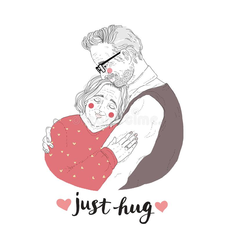 Portrait of adorable pair of old man and woman cuddling. Drawing of loving elderly couple and Just Hug lettering royalty free illustration