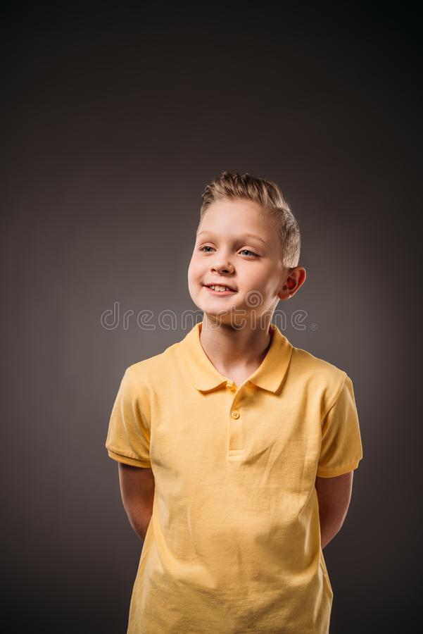 portrait of adorable preteen boy, royalty free stock photography