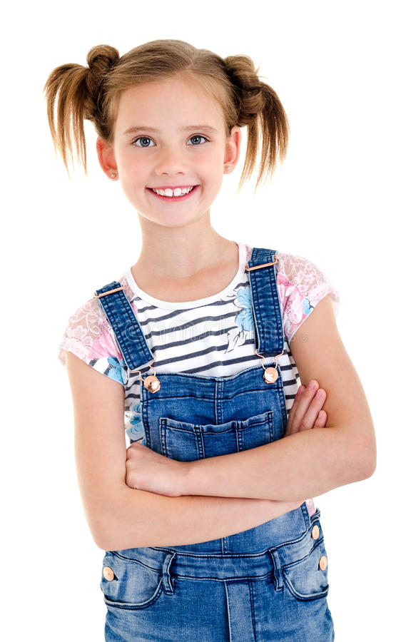 Portrait of adorable smiling little girl child isolated royalty free stock photos