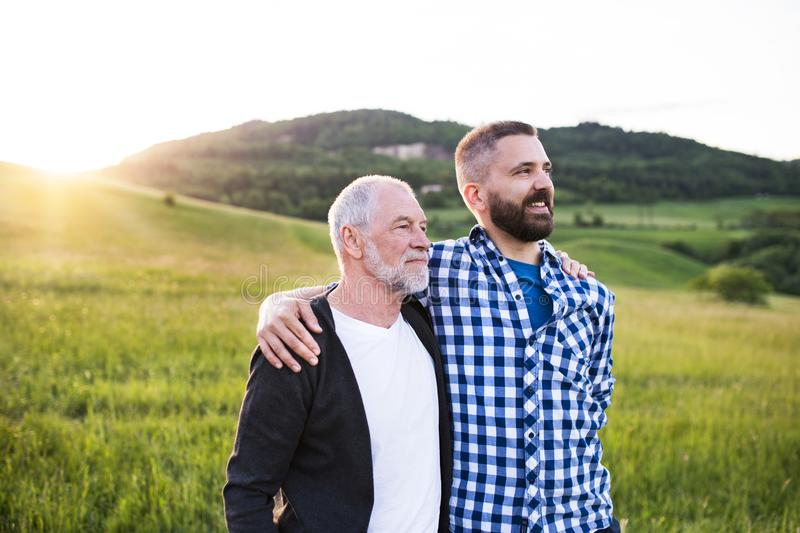 A portrait of an adult hipster son with senior father in nature at sunset, arms around each other. royalty free stock image