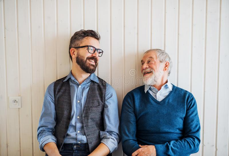 A portrait of adult hipster son and senior father sitting on floor indoors at home. royalty free stock image