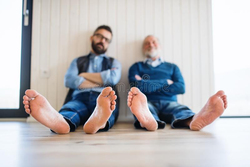 A portrait of adult hipster son and senior father sitting on floor indoors at home. stock photography