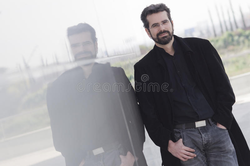 Portrait of adult man with jacket royalty free stock photo