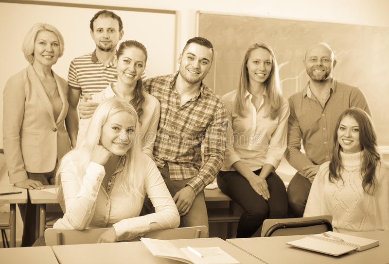 Portrait of adult students at class royalty free stock image
