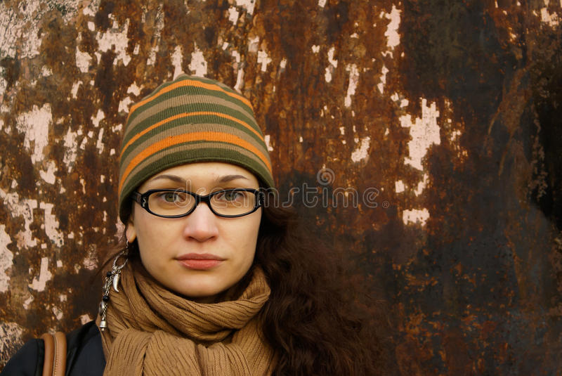 Download Portrait Of Adult Woman In A Cap And Glasses Stock Image - Image: 18208195