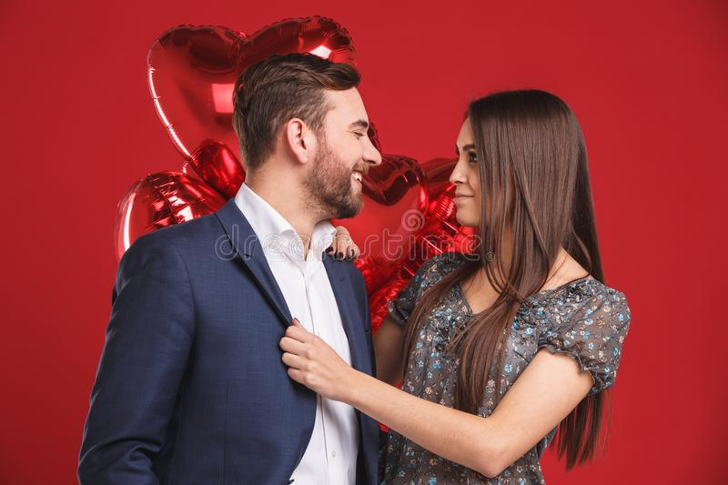 Portrait of affectionate couple celebrating valentine`s day stock photo