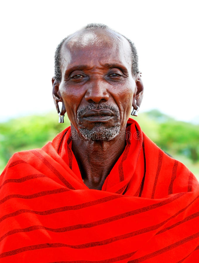 Portrait of an African chief warrior. AFRICA,KENYA,SAMBURU,NOVEMBER 8:portrait of an African Chief of Samburu tribe village posing to camera,review of daily life royalty free stock photos