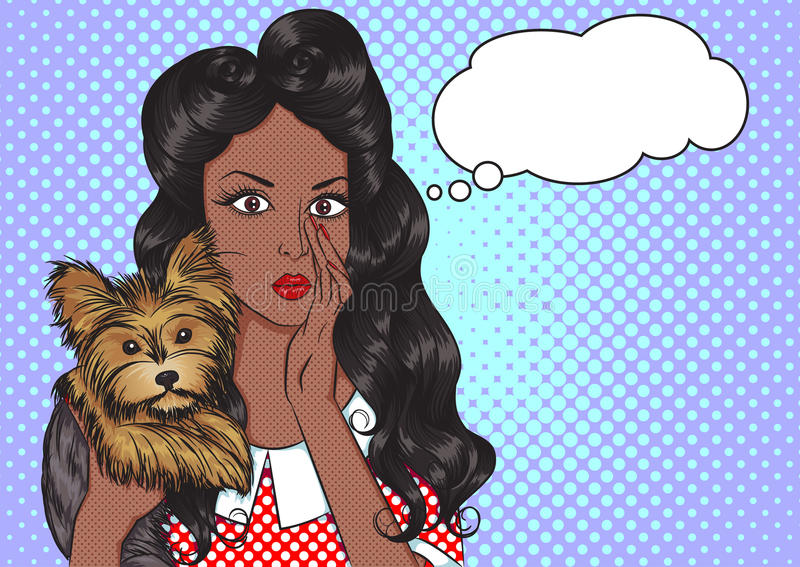 Portrait of african girl with dog and speech bubbl vector illustration