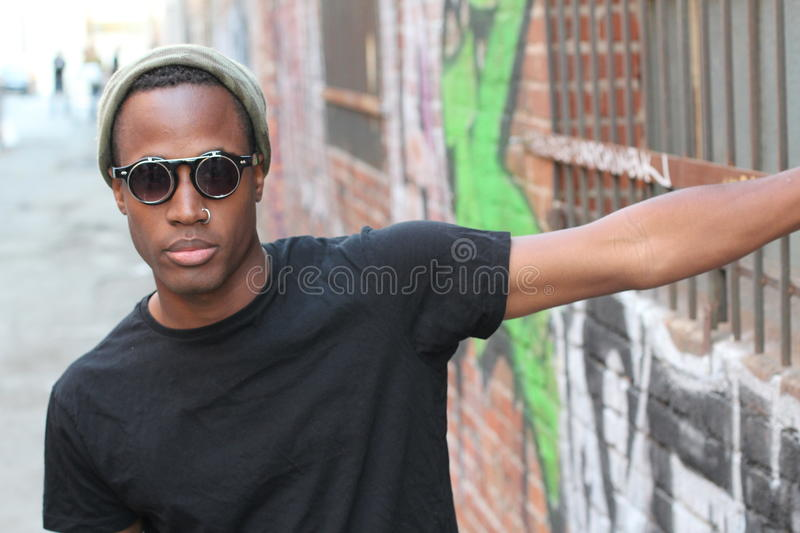 Portrait of African man with sunglasses royalty free stock photo