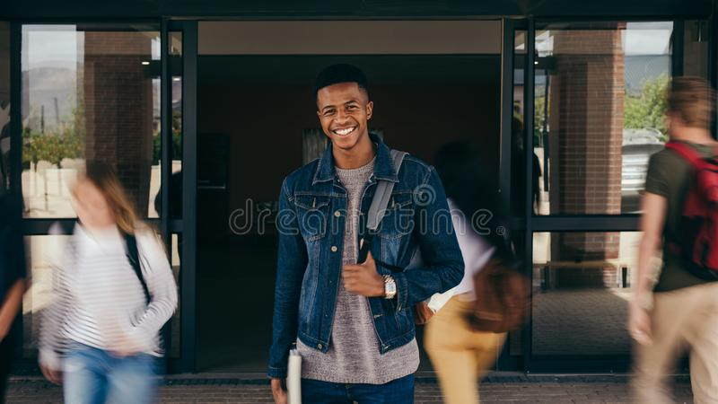 Smiling college student stock photo