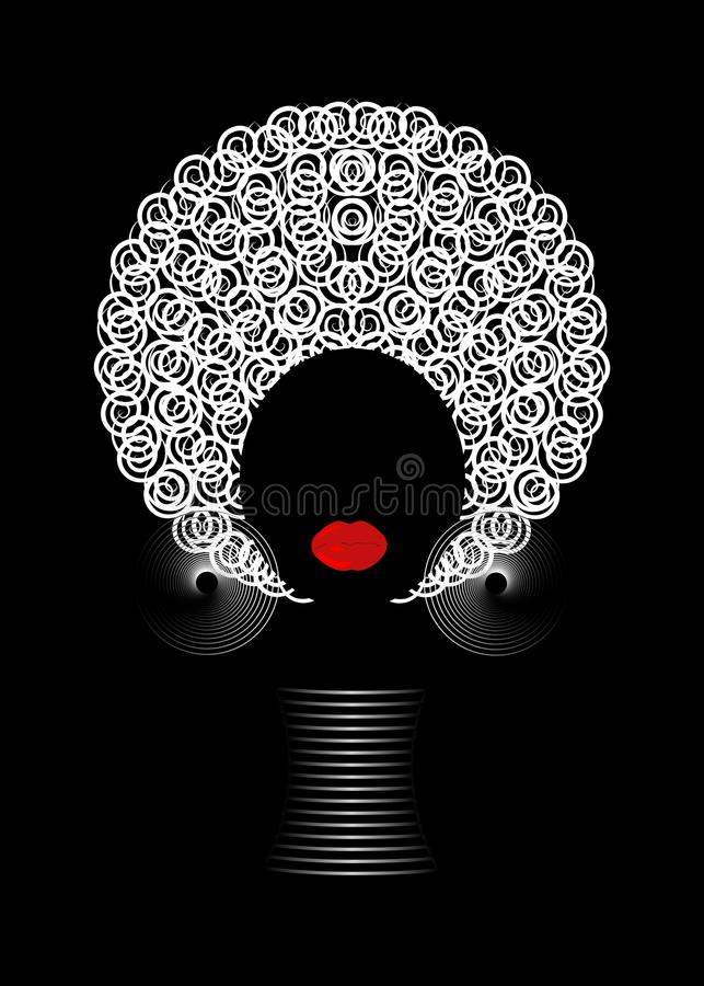 Portrait African Women , dark skin female face with hair afro and ethnic traditional jewelry on black background. Portrait African Women , dark skin female face royalty free illustration