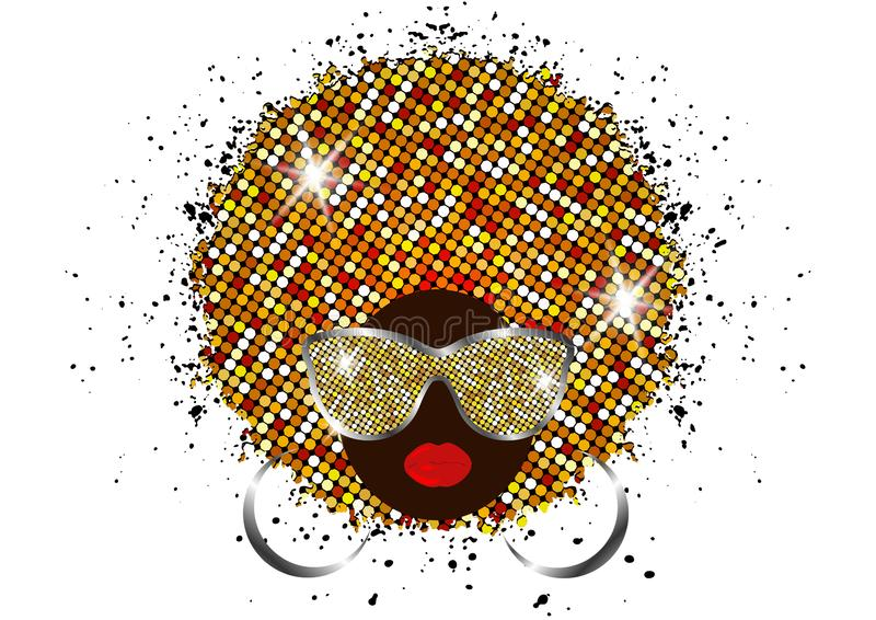 Portrait African Women , dark skin female face with shiny hair afro and gold metal sunglasses in traditional ethnic golden turban. Portrait African Women , dark royalty free illustration