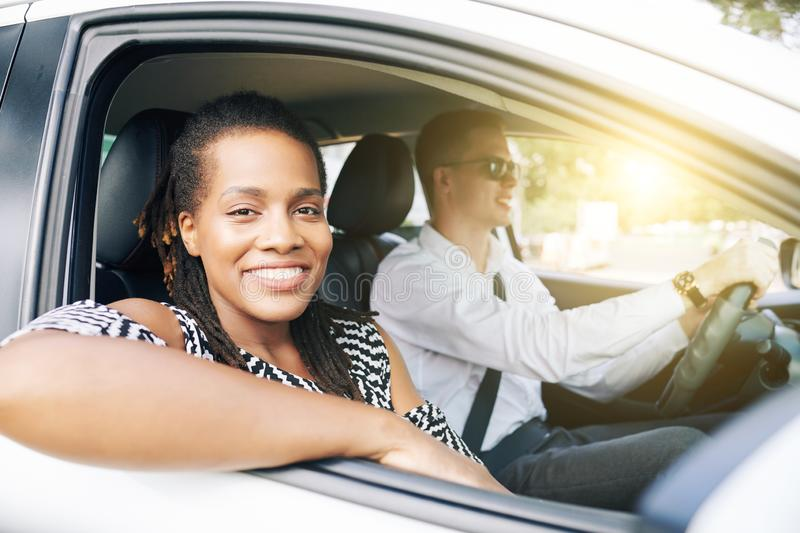Young couple travelling by car royalty free stock photography