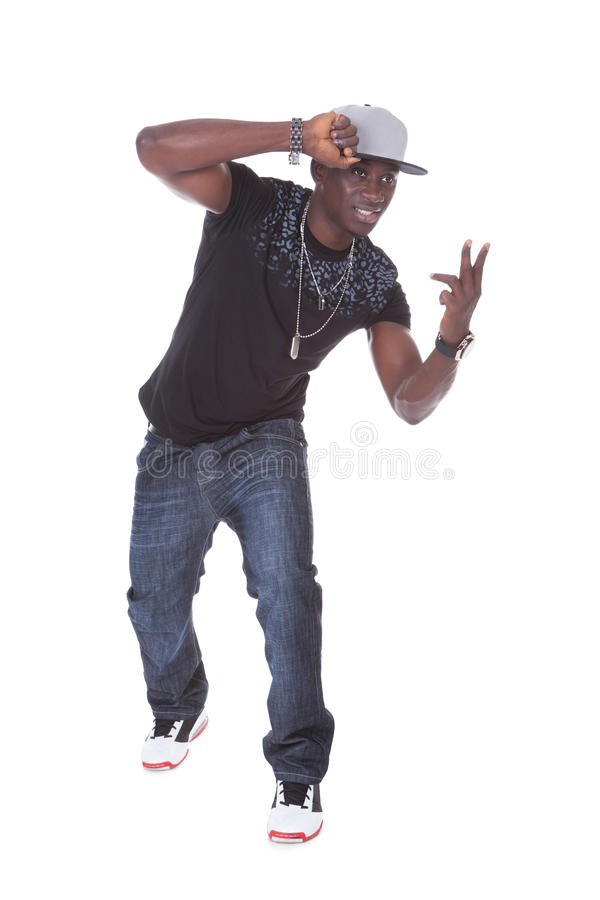 Portrait Of African Young Man Dancing stock images