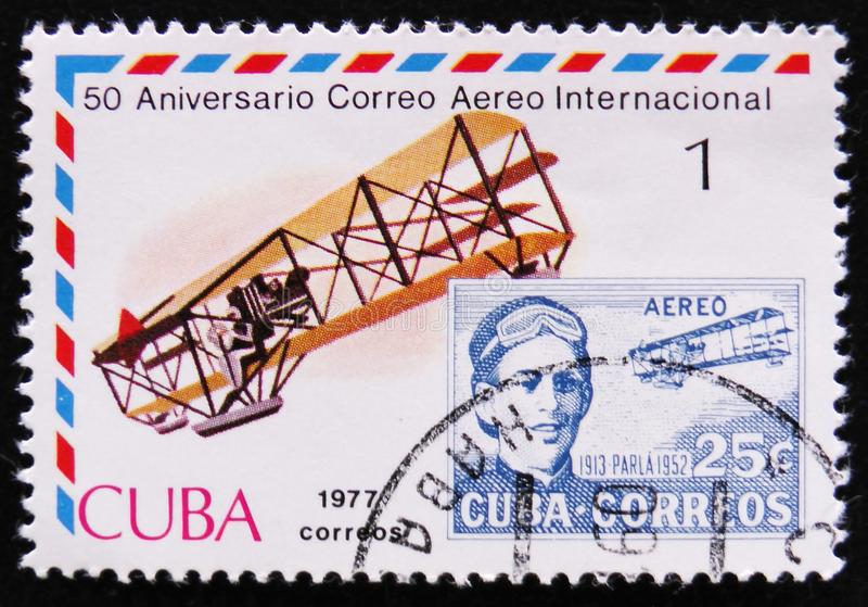 Portrait Agustin Parla, series International Airmail Service, 50th Anniversary, circa 1977. MOSCOW, RUSSIA - APRIL 2, 2017: A post stamp printed in Cuba shows stock images
