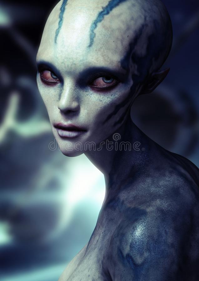 Portrait of a alien female . royalty free illustration