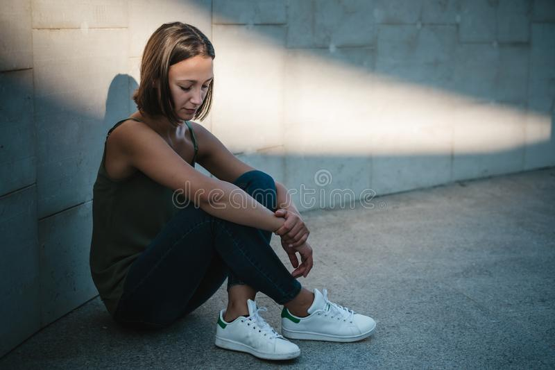 Depressed and anxious young girl portrait stock photography
