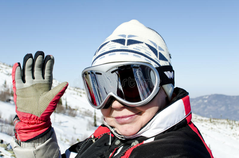 Portrait of a alpine skier stock photos