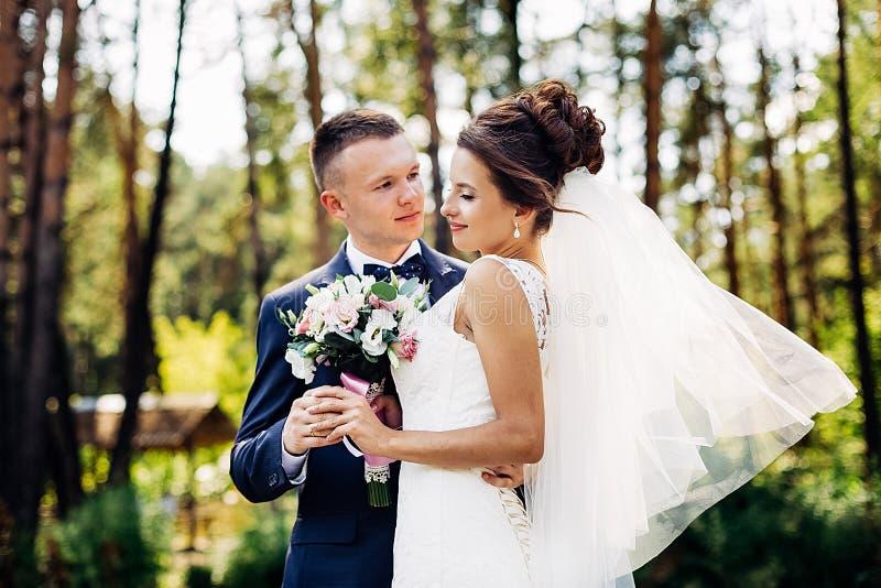 Portrait of an amazing wedding couple royalty free stock photos