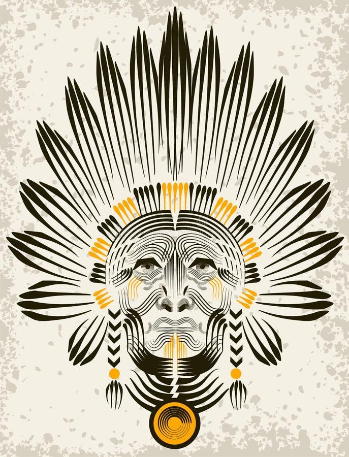 Download Portrait Of American Indian. Stock Vector - Image: 32354142