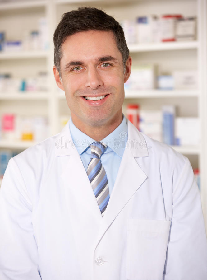 Portrait American pharmacist at work stock photography