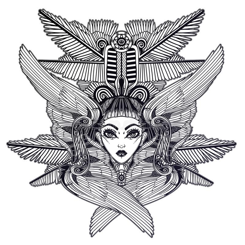 Portrait of the ancient Egyptian winged goddess. vector illustration