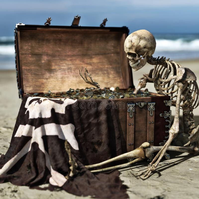 Portrait of an ancient skeleton holding coins from a pirate treasure chest off the coast of an island. 3d rendering stock illustration