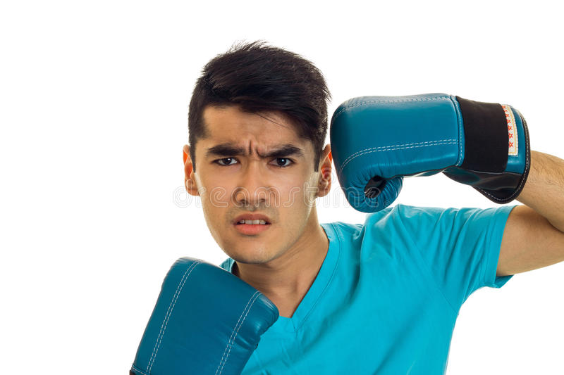Portrait of angry brunette boxer sportsman in blue gloves looking at the camera isolated on white background royalty free stock photos