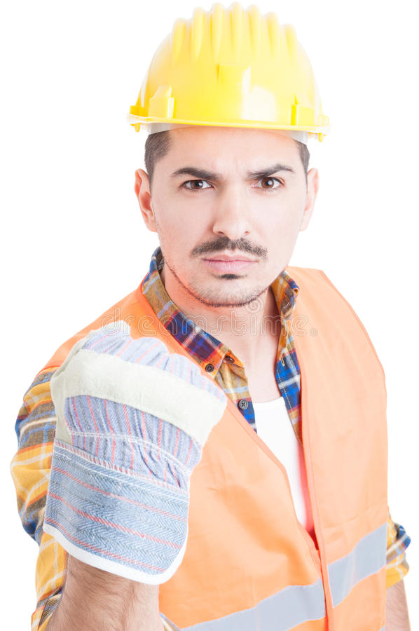Portrait of angry constructor or engineer showing his fist royalty free stock image