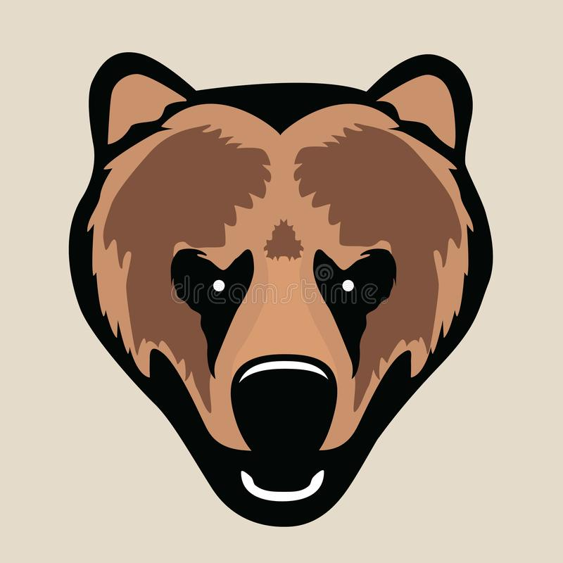 Portrait of angry grizzly bear, just head. stock illustration