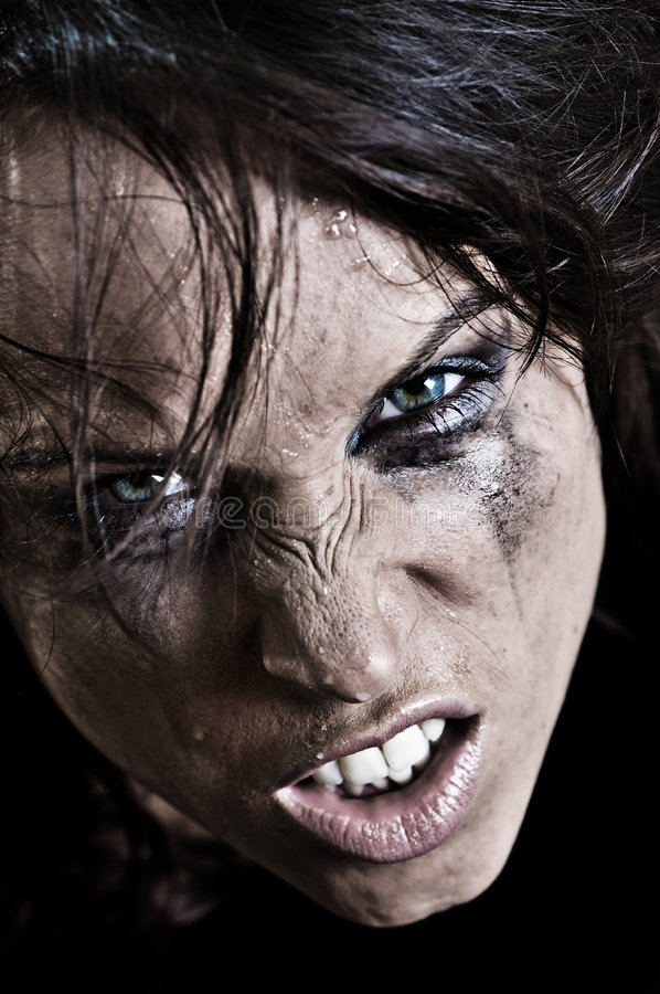 Portrait of angry woman stock photography