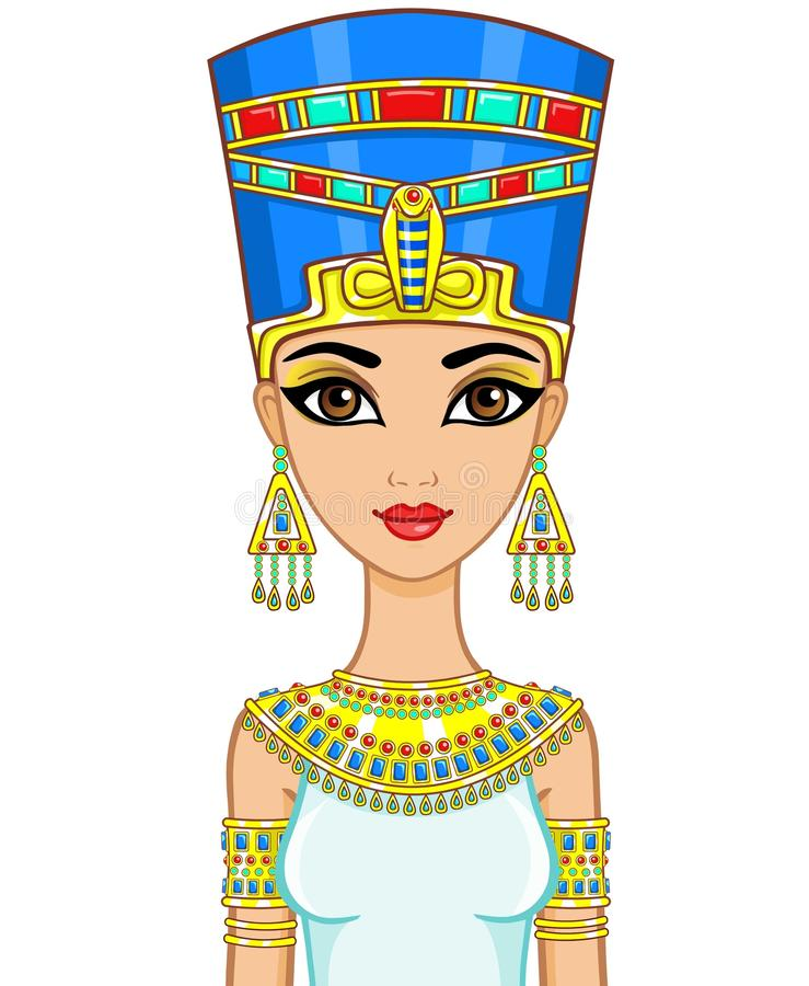 Portrait of the animation Egyptian princess in gold jewelry. Queen Nefertiti. The vector illustration isolated vector illustration