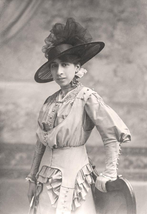 Portrait antique de Madame. photo stock