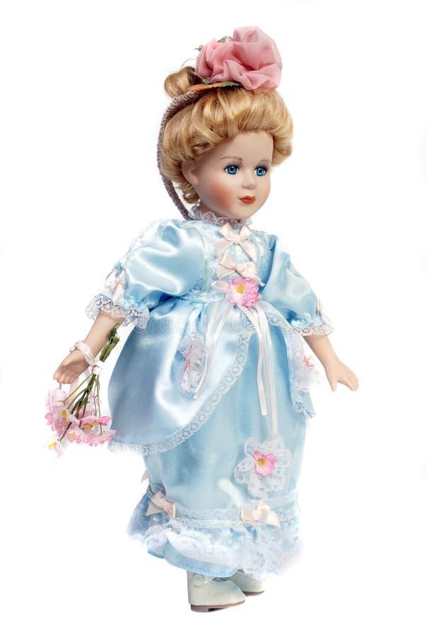 Portrait of antique porcelain doll face stock photography
