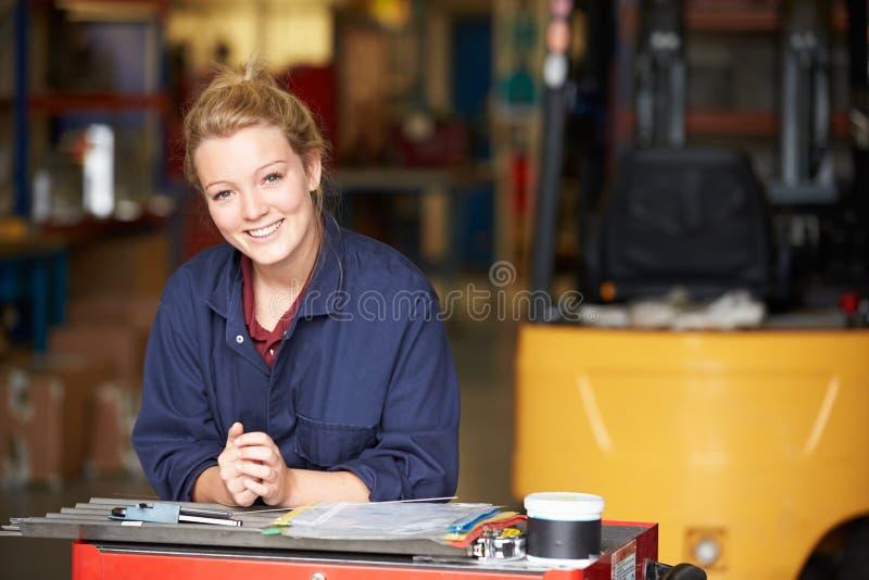 Portrait Of Apprentice Engineer In Factory stock images