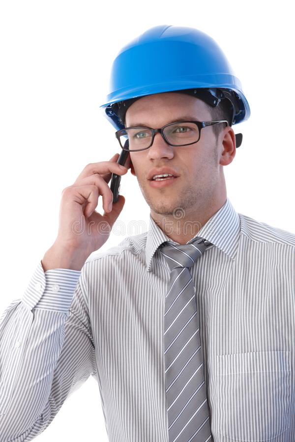 Portrait Of Architect On Mobile Phone Royalty Free Stock Image