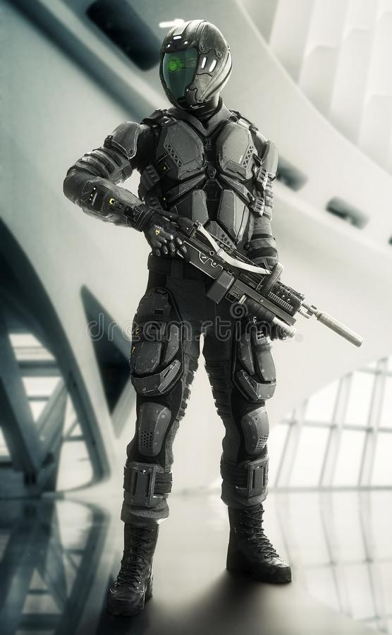 Portrait of a armed masked futuristic armored soldier posing with a modern interior background. vector illustration