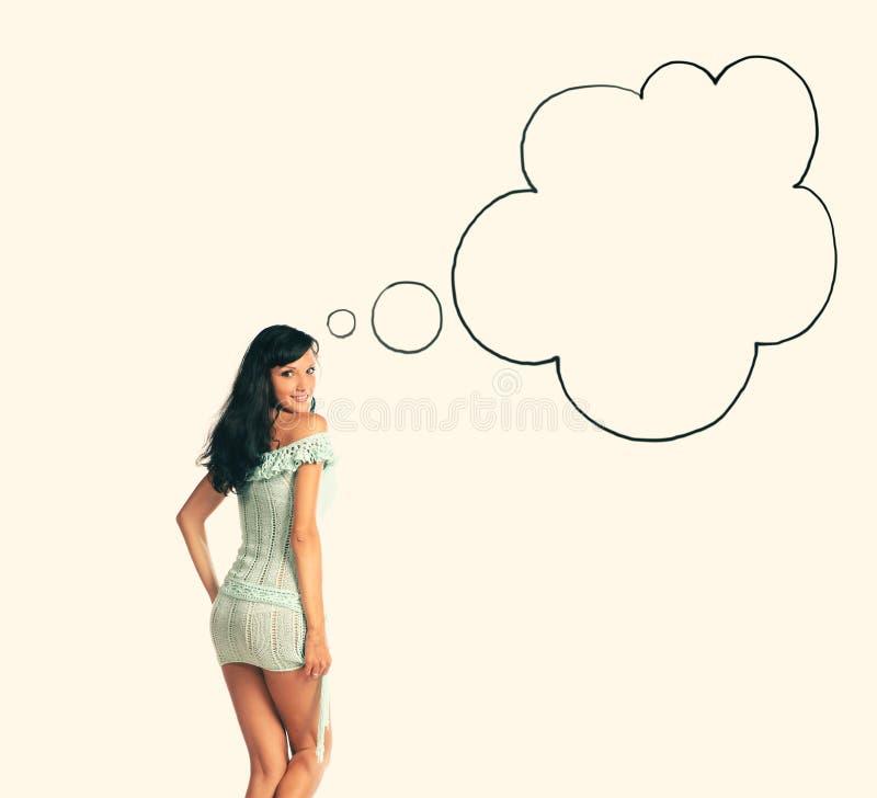 Portrait arrière de vue des cheveux noirs de jeune fille avec la bulle de la parole photos stock
