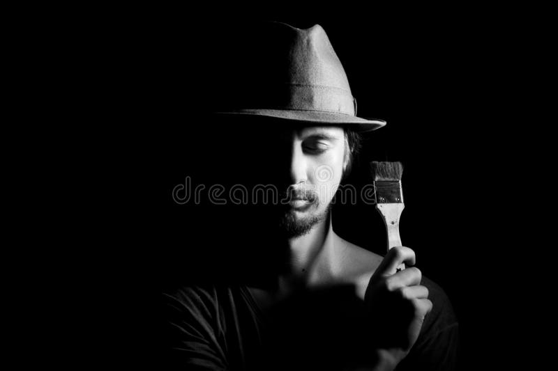 Portrait of artist-man with hat royalty free stock images