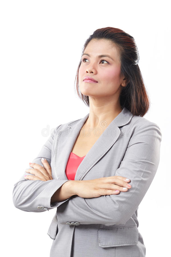 Portrait of a Asia business woman thinking. On white background stock images