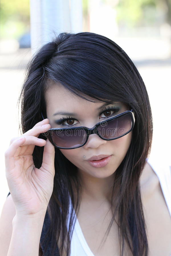 Download Portrait Asian American Woman Peeking Stock Photo - Image: 15490836