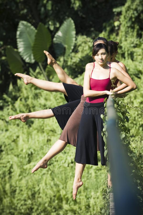 Portrait of asian ballet dancer outdoor stock photo